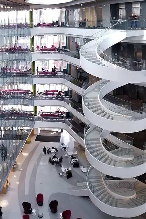 interior of building with spiral staircase