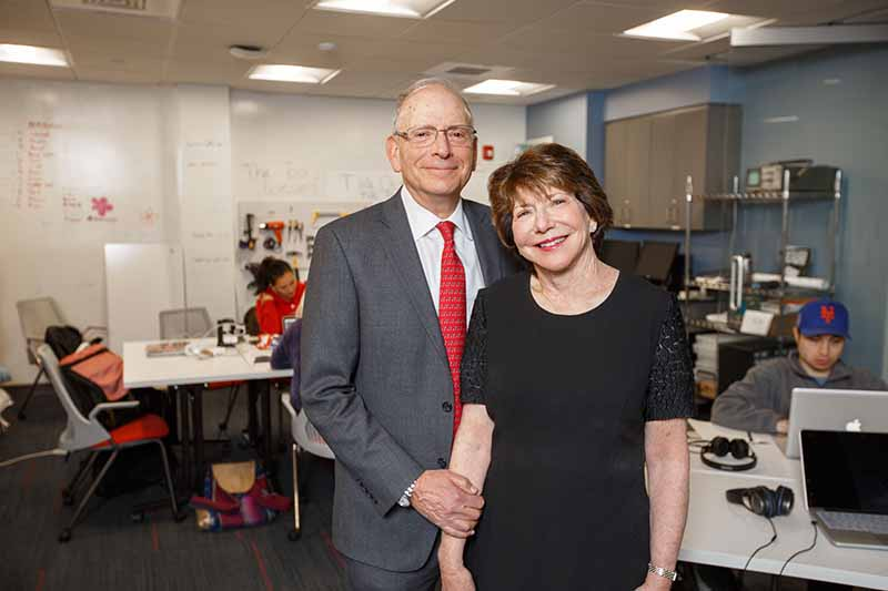 Michael and Ann Sherman pose in the Sherman Center for Engineering Entrepreneurship Education.