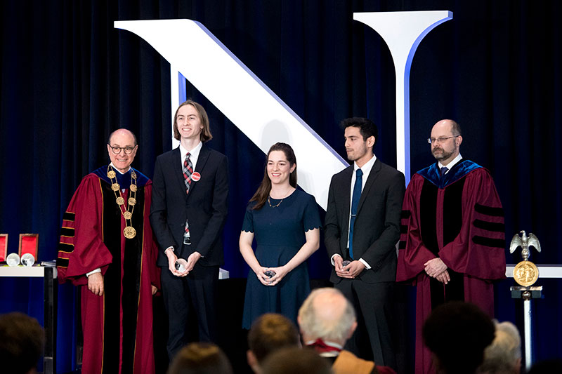 Students are recognized at the annual university-wide honors convocation ceremony.
