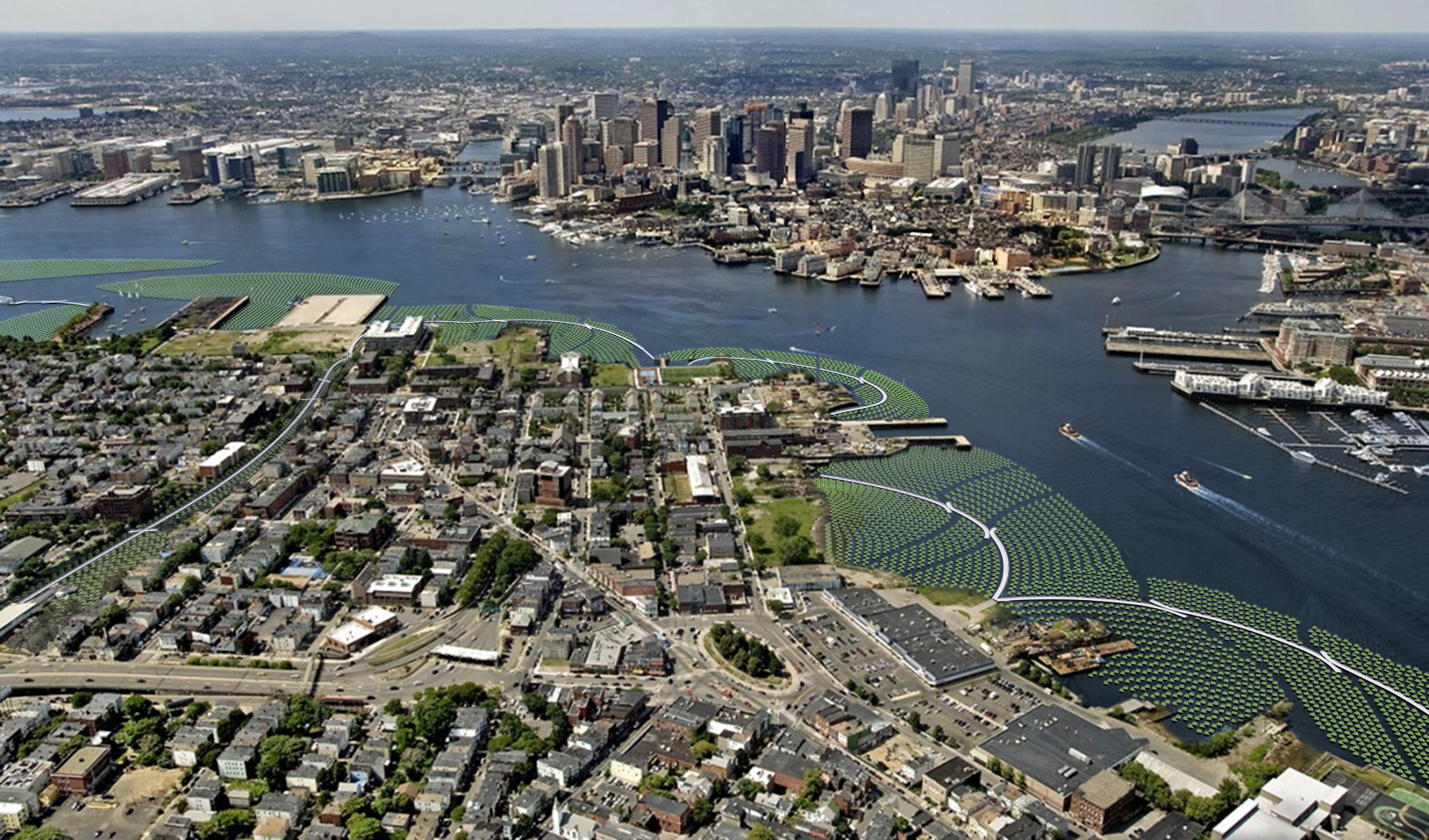 aerial view of city on the coast