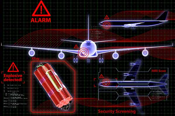 abstract image with plane, alarm, explosive
