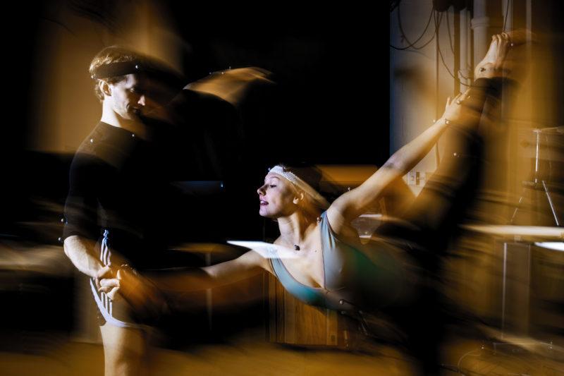 Professor Dagmar Sternad studies human movement with Boston ballet dancers in her lab on January 9, 2019. Photo by Adam Glanzman/Northeastern University