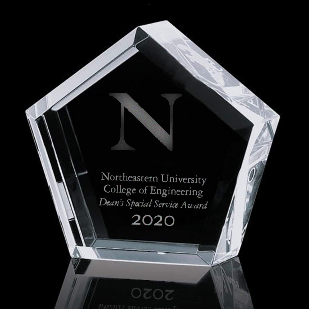 glass award that says Special Deans Award for College of Engineering 2020