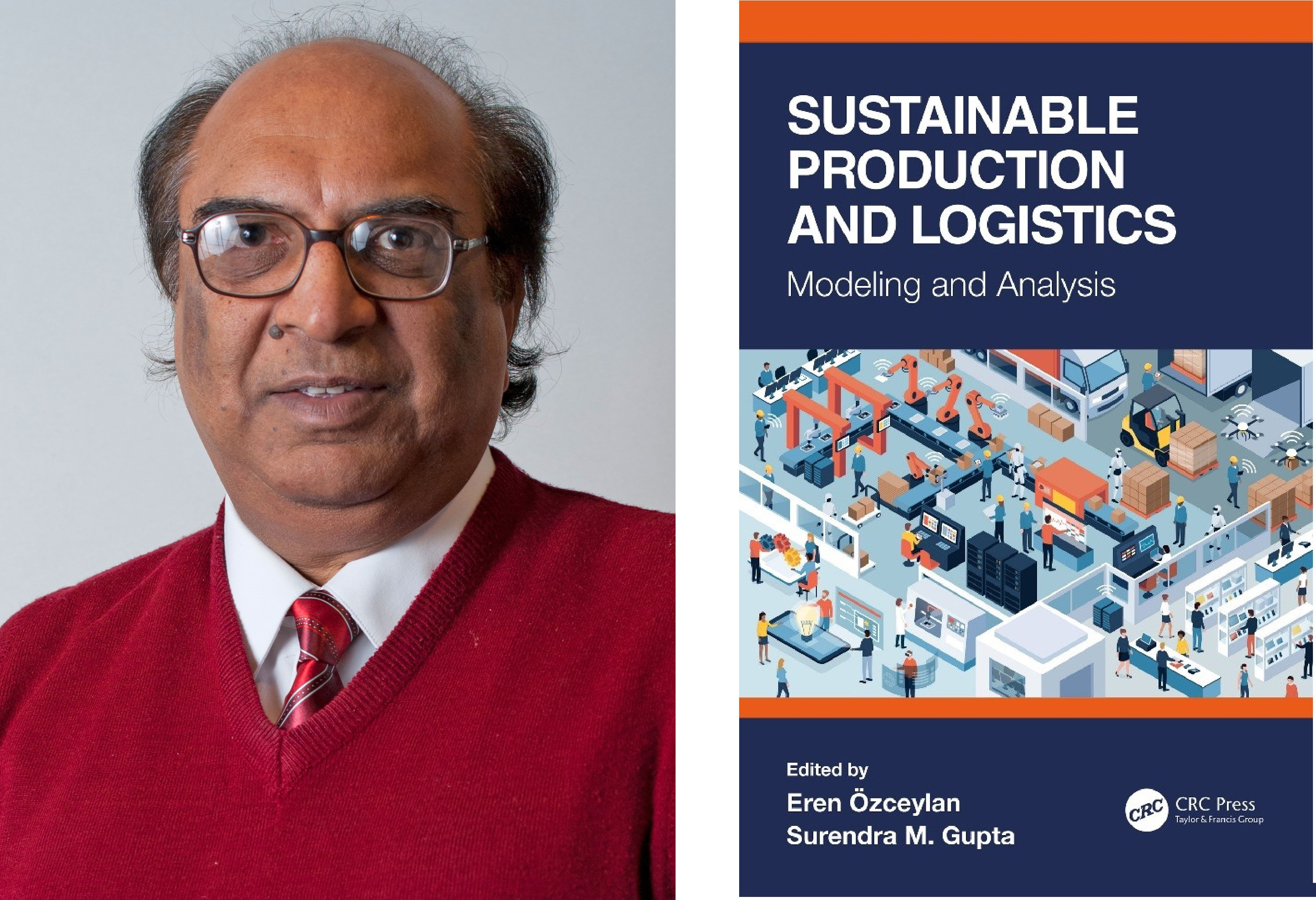 portrait of Surendra M. Gupta and cover of sustainable production and logistics book