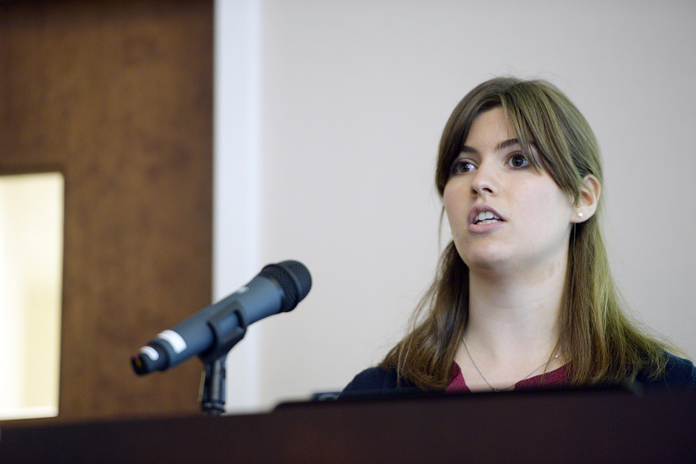 Rachel Fontana, S'17, presents on her research co-op through the CaNCURE program at Nanomedicine Day on June 15 in Dodge Hall. Photo by Matthew Modoono/Northeastern University