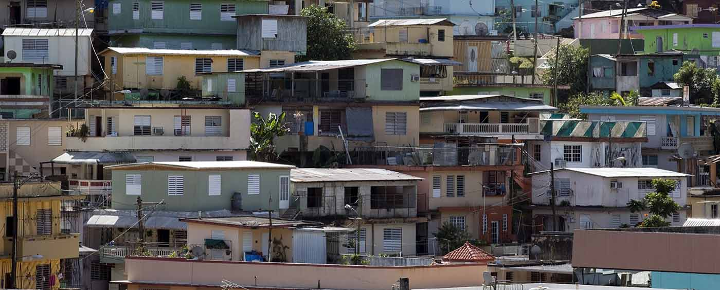 small houses close together on hill in Puerto Rico