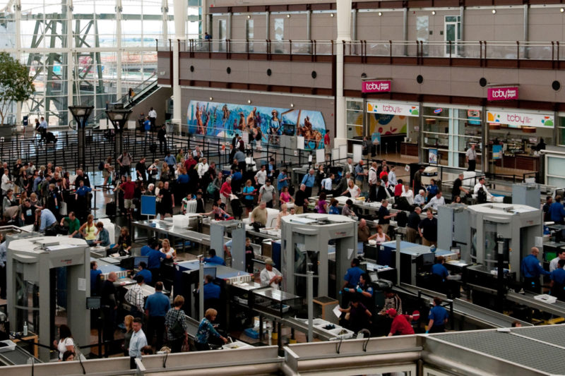 People traveling through security to the gates of Denver International Airport in the early morning of June 6, 2013. Photo by iStock.