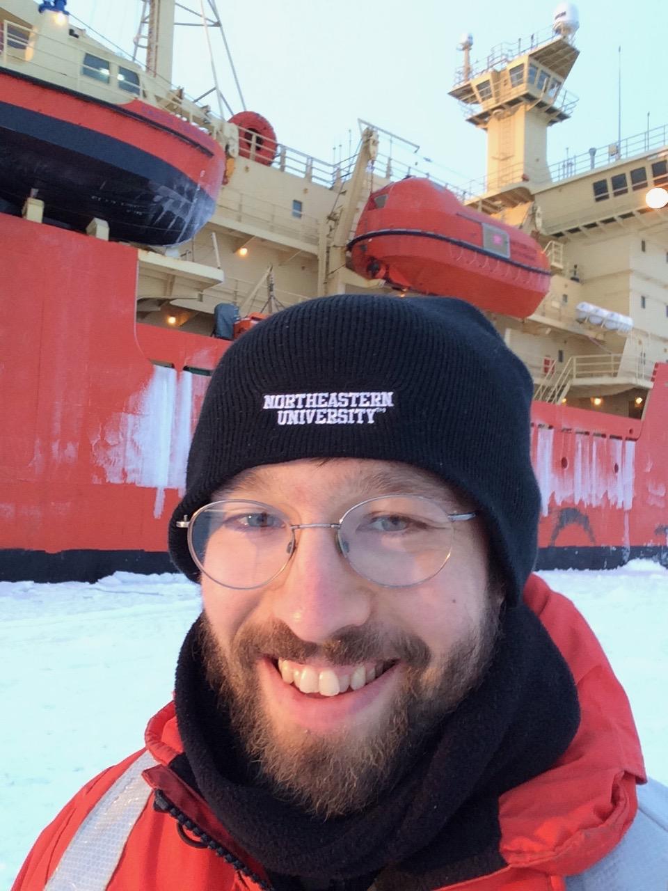 Alek Razdan, PhD'21, during his research expedition to the Antarctic Ocean.