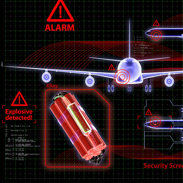 abstract image showing bomb, alarm and airplane