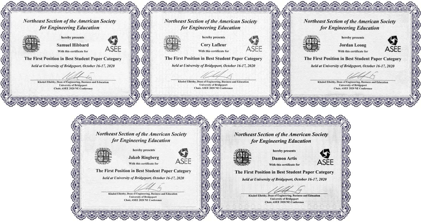 five student certificates from ASEE