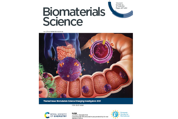biomaterials science cover page with graphic of research from Bioengineering lab