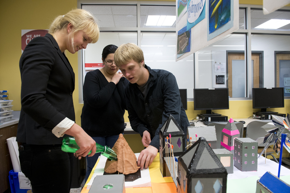 First-year engineering students in an engineering design course presented their team-based final projects, which included creating prototype museum exhibits to communicate complex engineering topics to younger students. Photo by Brooks Canaday.