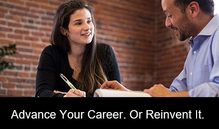 banner ad that says advance your career or reinvent it.