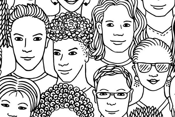 artwork illustration of diverse people