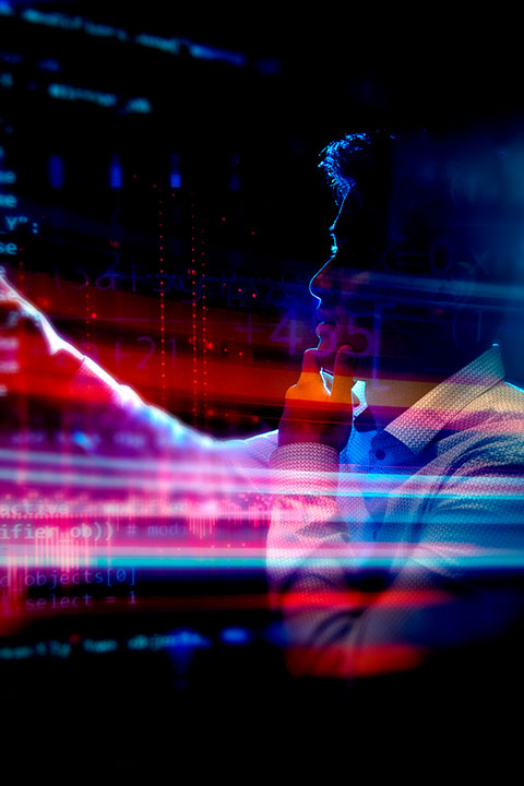 abstract of person working on computer screen with artificial intelligence on screen