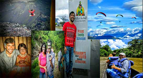 student in center of collage of photos of trip to equador such as hiking and business sign