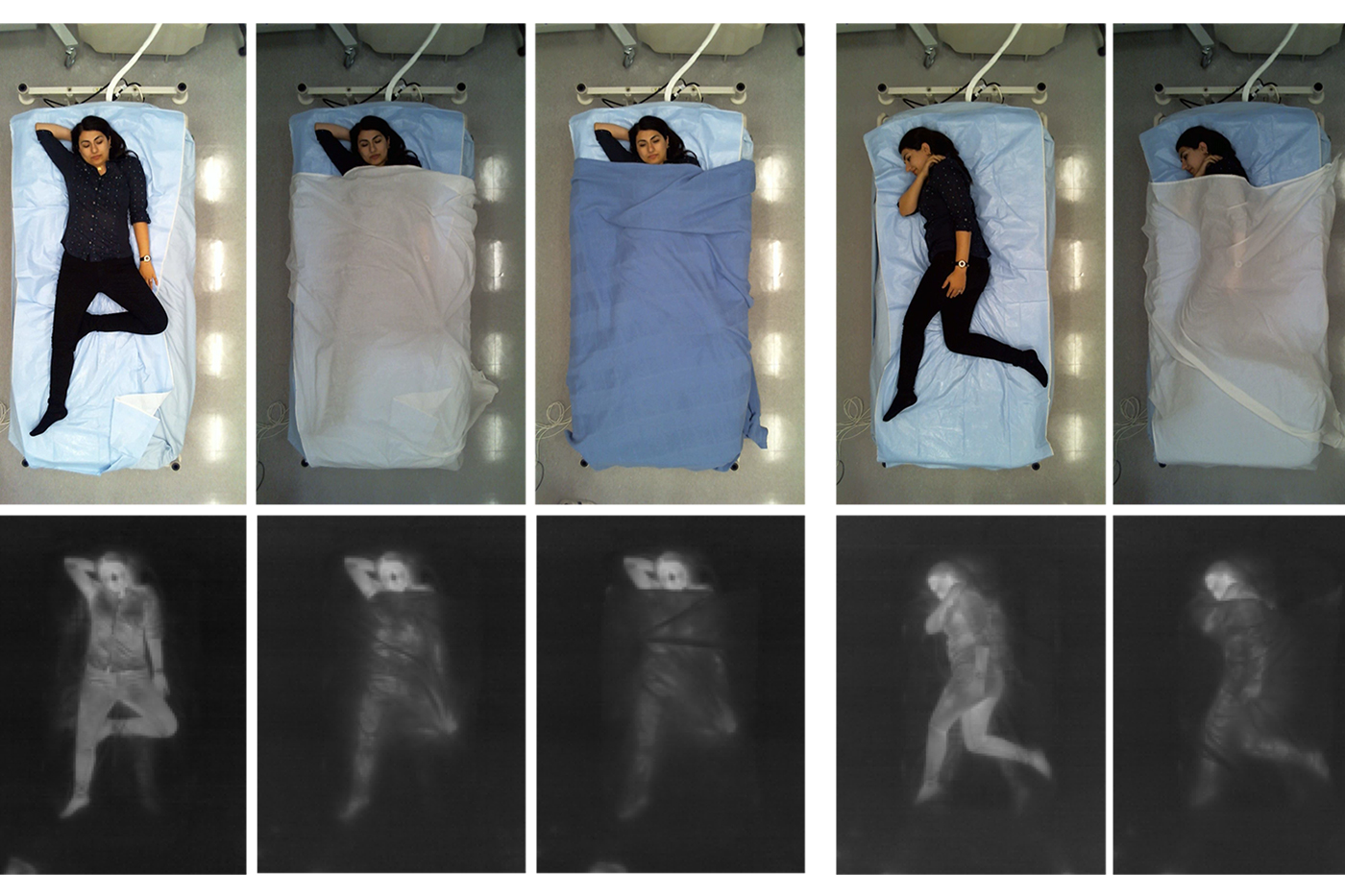 series of sleep positions showing person in bed