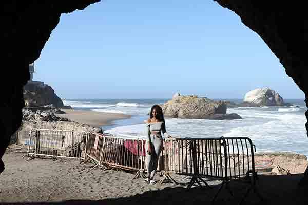 student in San Francisco by ocean