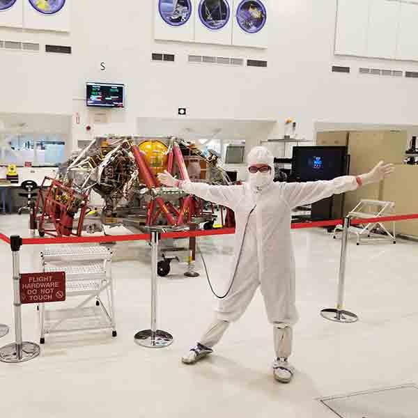 student at NASA in lab