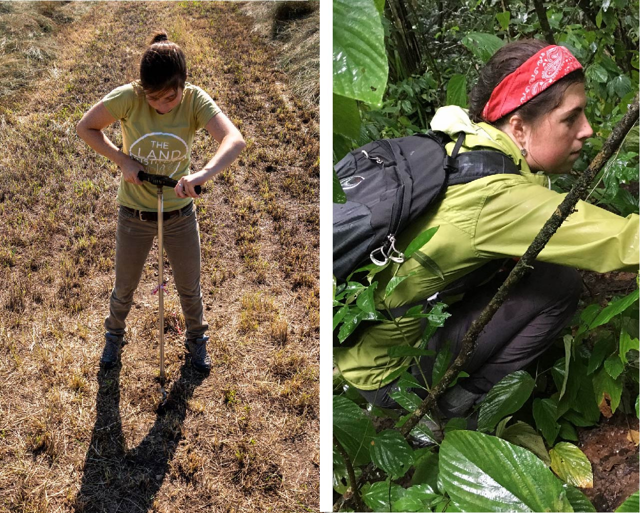 student testing soil in field and hiking in jungle