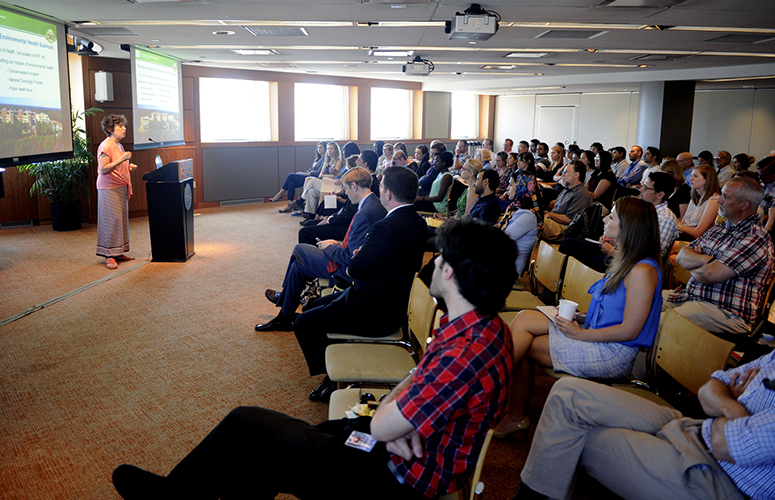 July 18, 2016 - BOSTON, MA. - Linda Birnbaum, Director of the National Institute of Environmental Health Sciences, National Toxicology Program speaks during the Our Environmental, Our Health event in the Alumni Center at Northeastern University on July 18, 2016. Photo by Matthew Modoono/Northeastern University