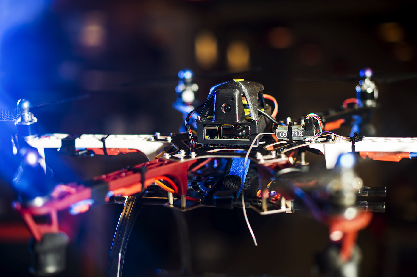 A hexi-copter drone in Taskin Padir's lab. The ultimate vision is a robot swarm deployed to assist engineers in damage inspection. Photo by Adam Glanzman/Northeastern University