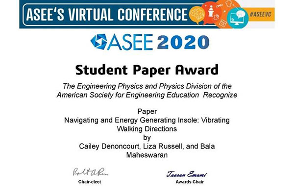 ASEE student paper award certificate