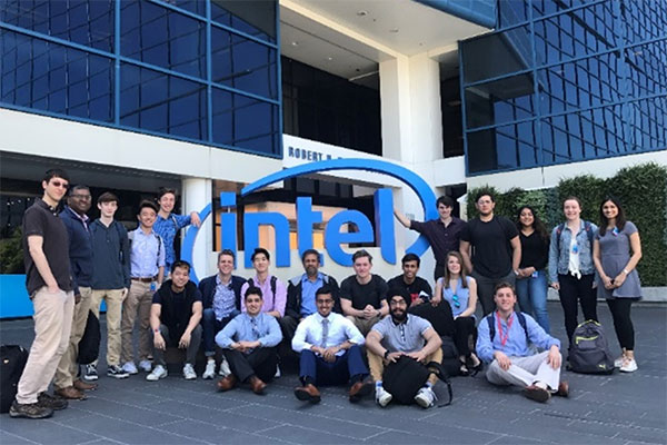 students in front of intel building