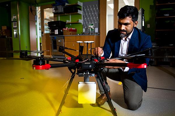 Chowdhury with drone