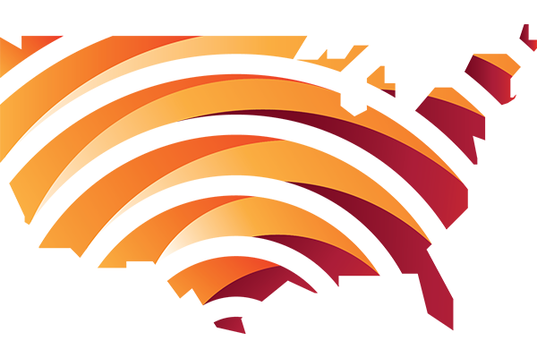 PAWR logo of U.S. with orange shades of lines in a wireless band shape across it