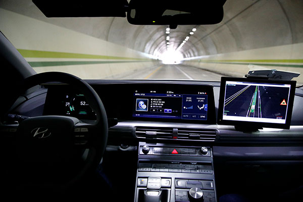 steering wheel and dashboard of self-driving car
