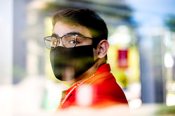 portrait of student with mask on