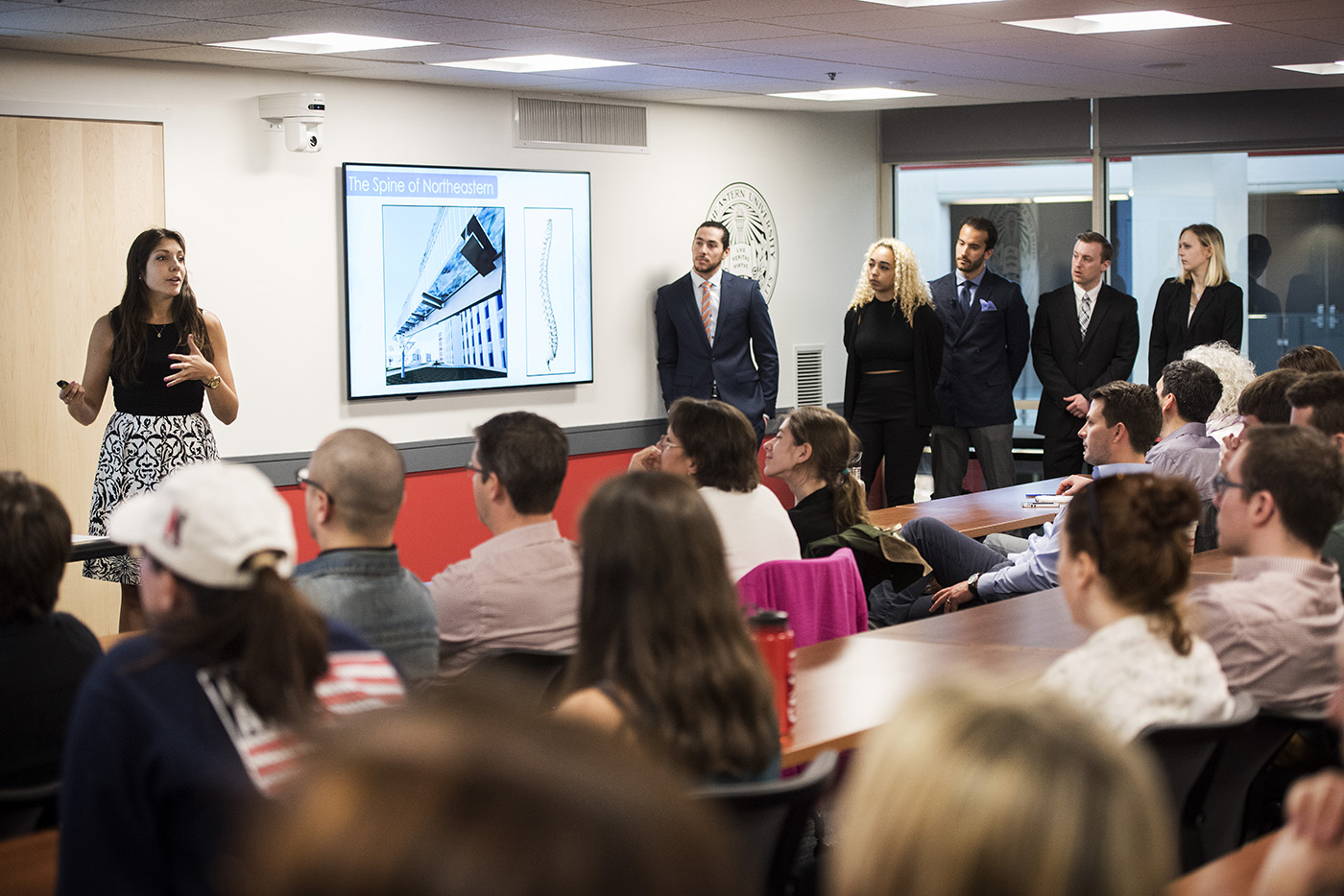 04/22/16 - BOSTON, MA. - Engineering and Arts Media Design students present their capstone project aimed at redesigning Forsyth Street in Curry Student Center on April 22, 2016. Photo by Adam Glanzman/Northeastern University