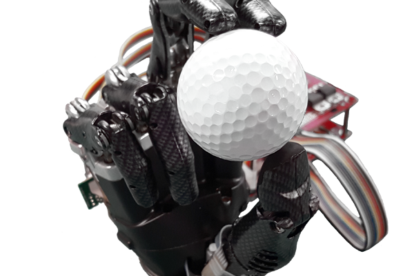 A prosthetic hand holding a golf ball.